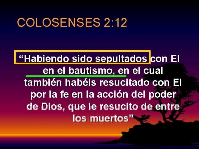Habiendo sido sepultados con él en el bautismo - (Colosenses 2:12)