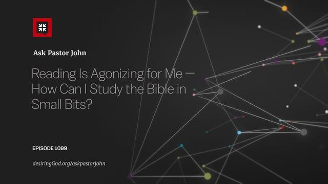 John Piper - Reading Is Agonizing for Me — How Can I Study the Bible in Small Bits?